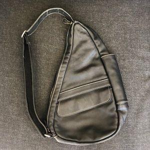 Ameribag healthy back black leather crossbody bag